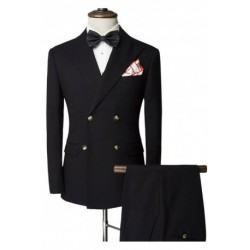 Slimming Lapel Double-Breasted Long Sleeve Men's Twinset Suit ( Blazer + Pants )