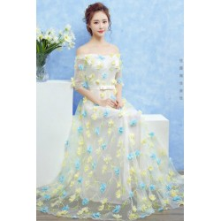 2016 New Spring & Summer Off Shoulder Flower Petals Evening Dress