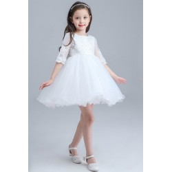 Lace Embroidery Sheer Sleeved Flower Girl Dress