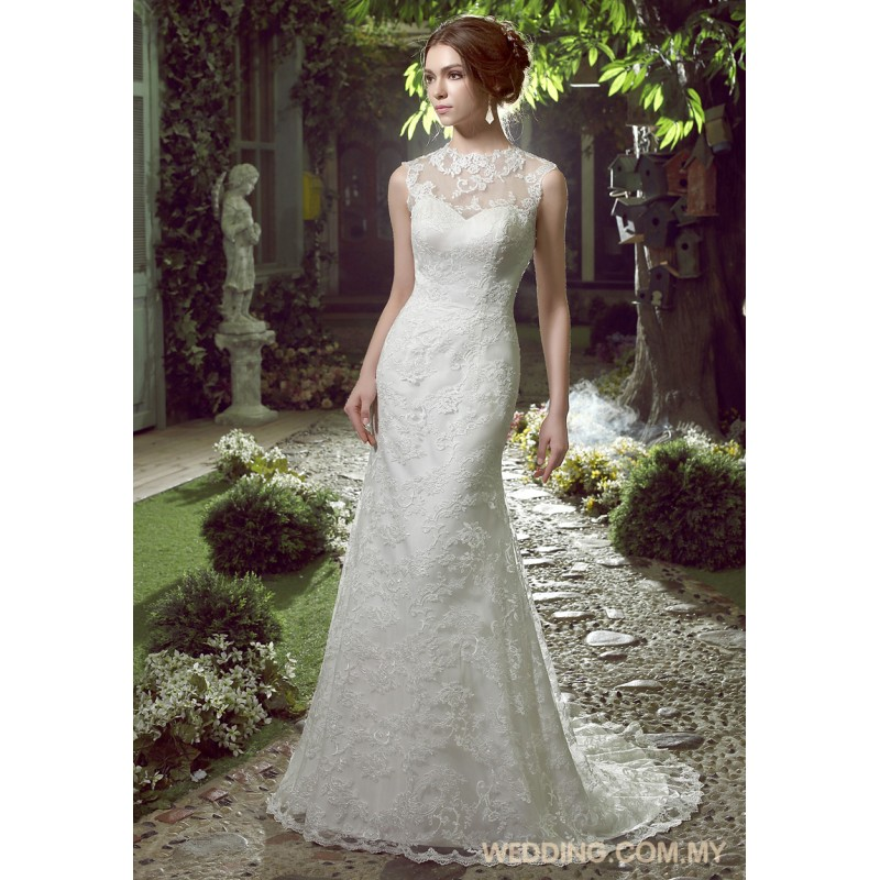 Mermaid Lace Wedding Dress With Illusion Neckline