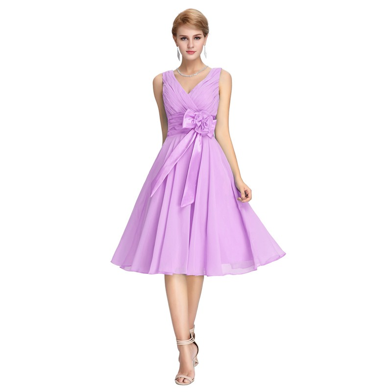 Spring v neck chiffon bridesmaid dress 2 colors fashion for Spring wedding bridesmaid dress colors