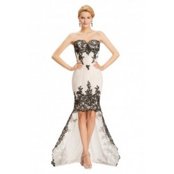 Sweetheart Duo Layered Chiffon Lace Evening Dress