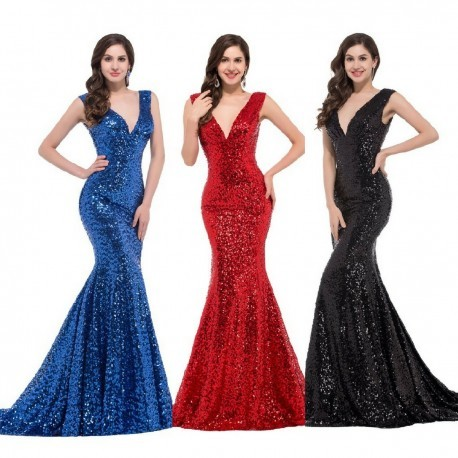 Shimmering Sequined V-Neck Mermaid Evening Gown (4 Colors)