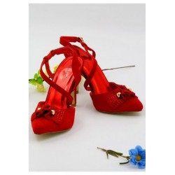 Red Tie-up Bridal Heels