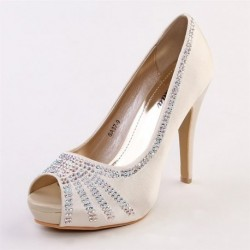 Bridal Red Peep-Toe Diamante Heels