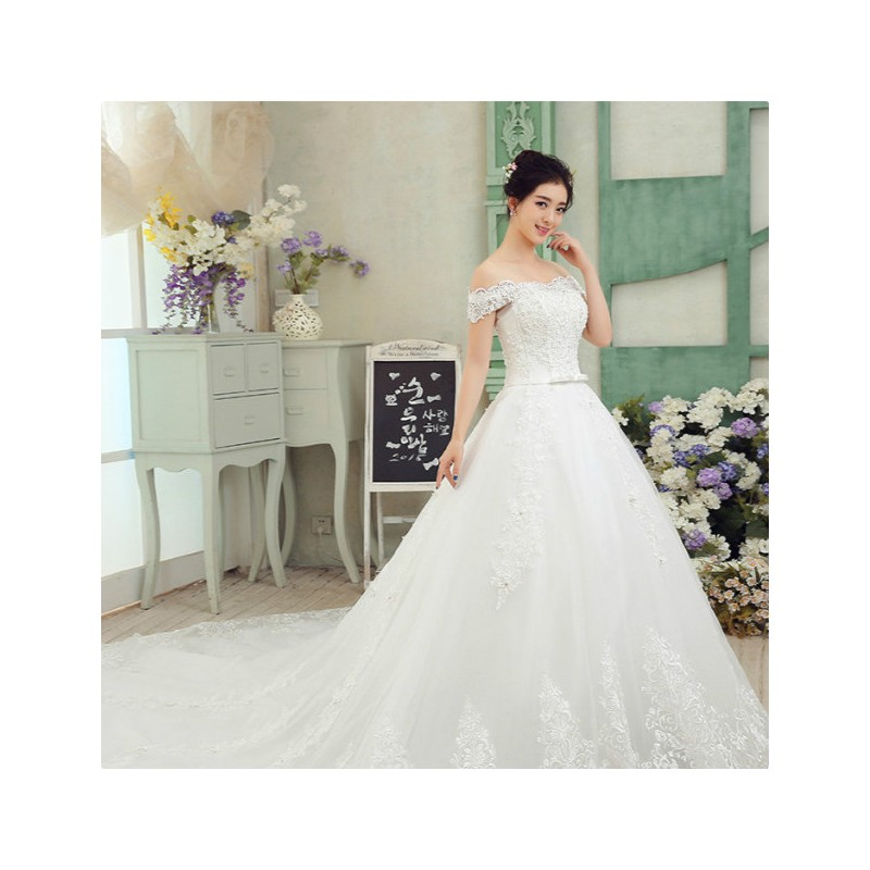 Princess Style Wedding Dress Lace : Princess style off shoulder lace long tailed wedding dress fashion