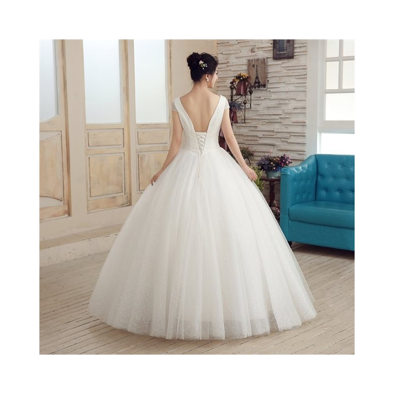 Princess Style Wedding Dress Lace : New arrival princess style lace short sleeve wedding dress fashion