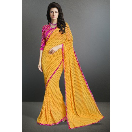 Pleasing Yellow Color Party Wear Printed Georgette Saree