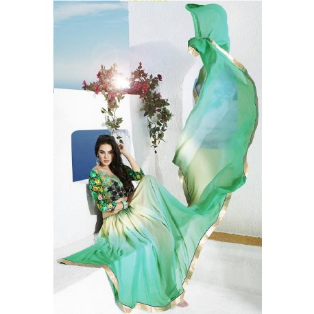 Light Green Party Wear Designer Printed Saree With Designer Blouse