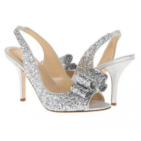 Myra Silver Glitter Bow Wedding Shoes