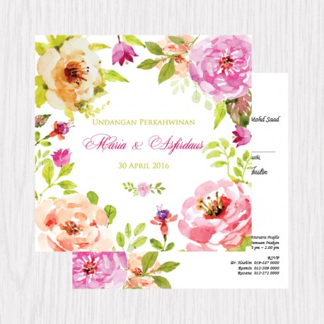 Floral Watercolor Printed Flat Cards - 100 pcs (3 Colors)